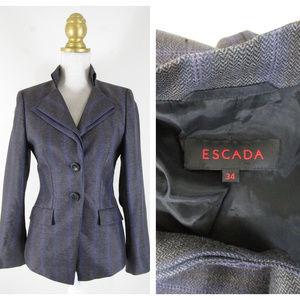 Escada Gray Silk Wool Blazer Suit Jacket 34 4 S